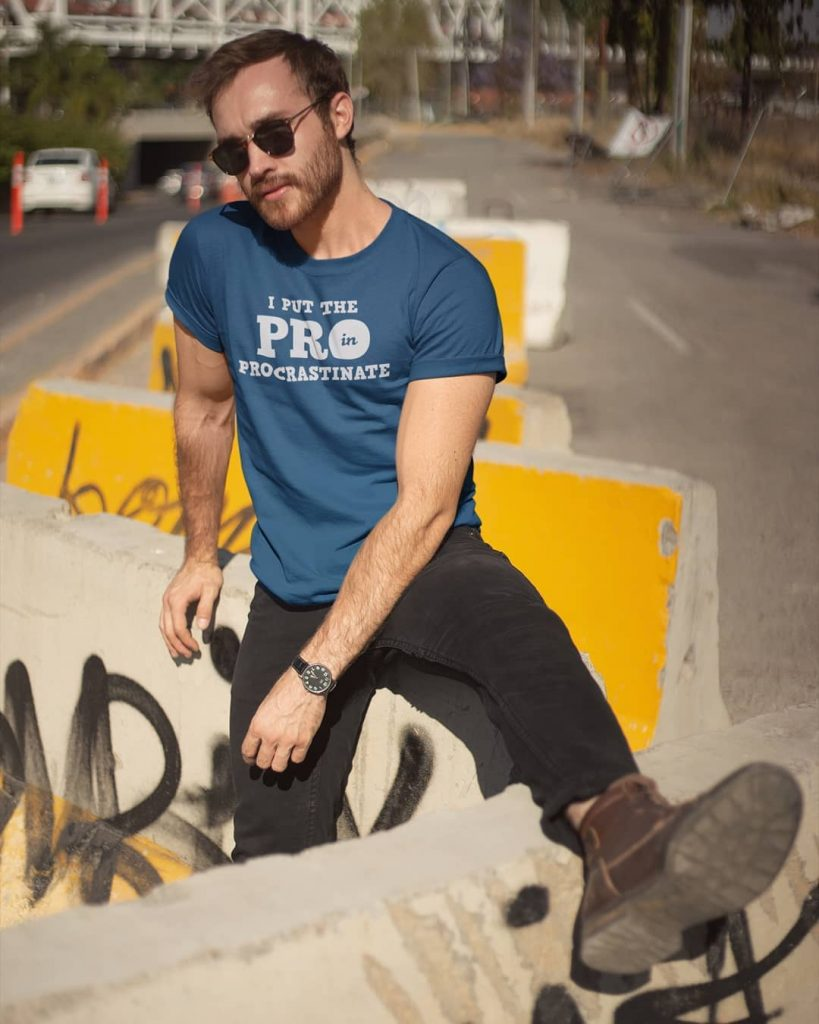 Guy Chilling around on the Street. Graphic T-shirts for Men & Women