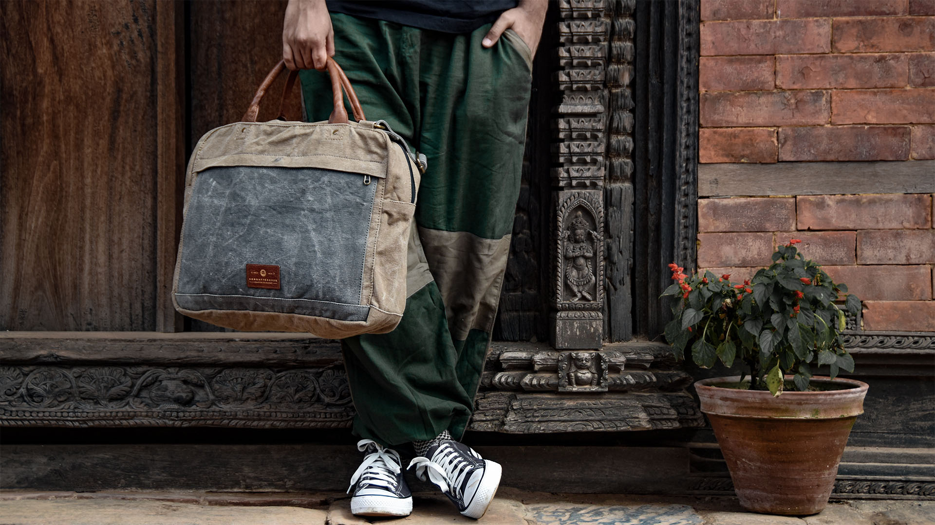 Recycled Eco-Friendly Messenger Laptop Bag