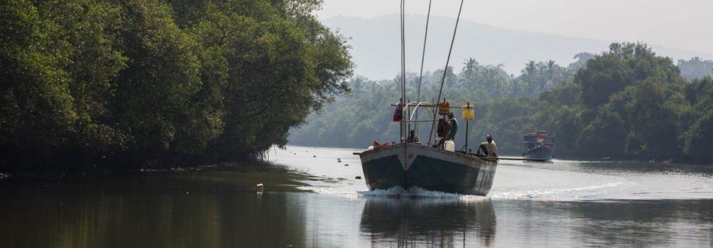Cruising Motorboat at Cumbharjua  Canal