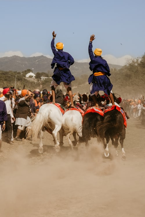 Men Performing Stunts On Horse at Anandpur Sahib